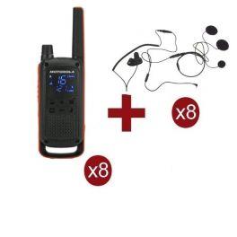 Pack de 8 Motorola Talkabout T82 + 8 auriculares de capacete de moto
