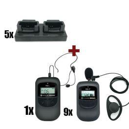Pack de 10 Escolta Bravo com carregadores: 1 emissor HE-L + 9 receptores HE-P
