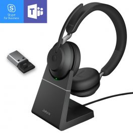 Jabra Evolve2 65 USB-A MS Stereo com suporte de carga - Preto