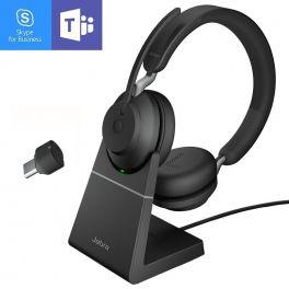 Jabra Evolve2 65 USB-C MS Stereo com suporte de carga - Preto