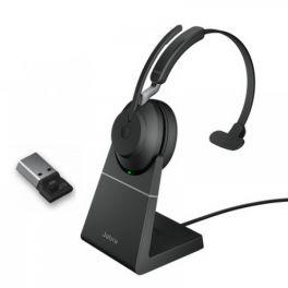 Jabra Evolve2 65 USB-A UC Mono com suporte de carga - Preto