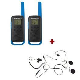 Motorola Talkabout T62 (azul) + 2 kits auriculares para capacete