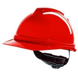 Capacete MSA V-Gard 500 com ventilação e fecho Fas Trac III - Vermelho