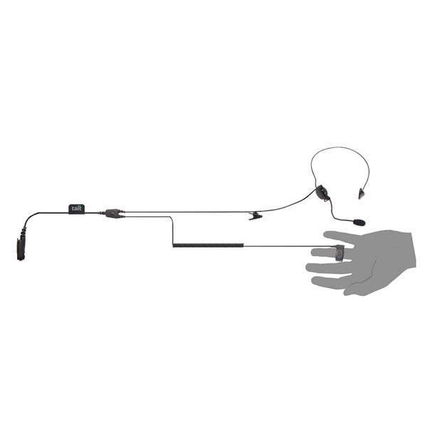 Auricular com anel de botões PTT para walkie talkies TAIT