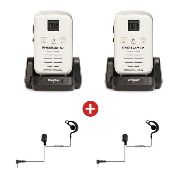 Two Dynascan 1D White PMR446 Walkie Talkies + 2 Earpieces (1)