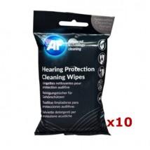Pack de 10 embalagens de toalhitas de limpeza para proteções auditivas