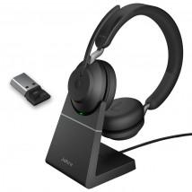 Jabra Evolve2 65 USB-A UC Stereo com suporte de carga - Preto