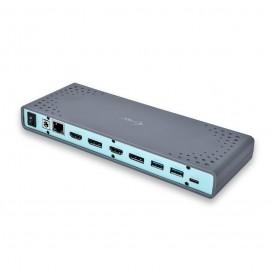 i-tec CADUAL4KDOCK base & duplicador de portas USB 3.0 (3.1 Gen 1) Type-C Preto, Turquesa