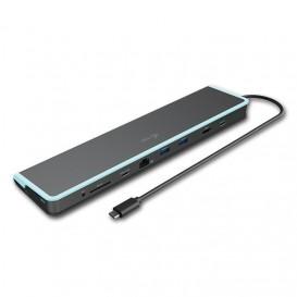 i-tec C31FLATDOCKPDV2 base & duplicador de portas USB 3.0 (3.1 Gen 1) Type-C Cinzento