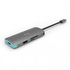 i-tec Metal C31NANODOCKPD base & duplicador de portas USB 3.0 (3.1 Gen 1) Type-C Prateado, Turquesa
