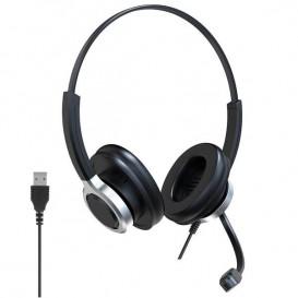 Auricular Duo USB para PC com Anulação ativa de ruído