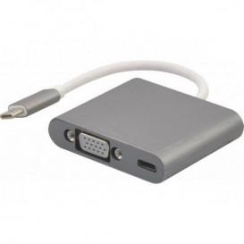 Adaptador USB-C3.1 a VGA + carga tipo-C