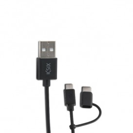 Cabo de dados e carga KSIX USB- Micro USB com adaptador USB Tipo C 1m