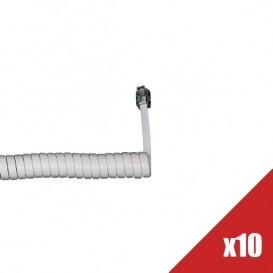 Lote de 10 cabos de auscultador de mão - Branco