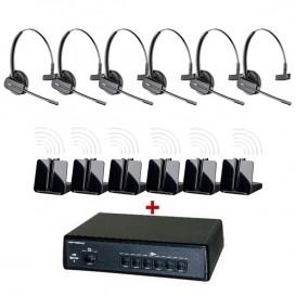 Pack comunicações Ligateam + 6 auriculares sem fios