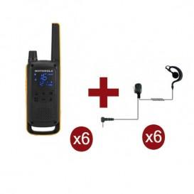Pack de 6 Motorola Talkabout T82 Extreme + 6 Kits mãos livres contorno de orelha