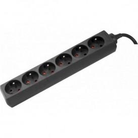 Tomada sem interruptor 6 entradas de 1,5m - cor preto