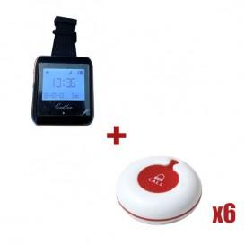Relógio avisador para pessoal TB-920 + 6 pulsadores de mesa