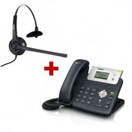 Telefone SIP Yealink T21P + Auricular Freemate DH037-U-GY