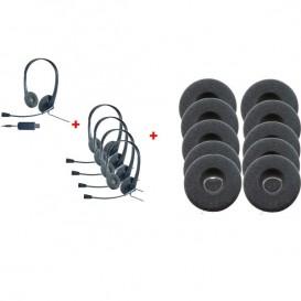 Pack de 5 auriculares Cleyver HC35 e 10 almofadas