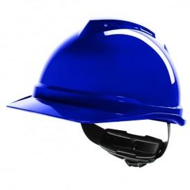 Capacete MSA V-Gard 500 com ventilação e fecho Fas Trac III - Azul
