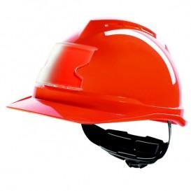 Capacete MSA V-Gard 500 com ventilação e porta cartões - Vermelho
