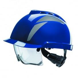 Capacete MSA V-Gard 930 - com ventilação e com óculos integrados - Azul