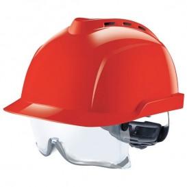 Capacete MSA V-Gard 930 - com ventilação e com óculos integrados - Vermelho