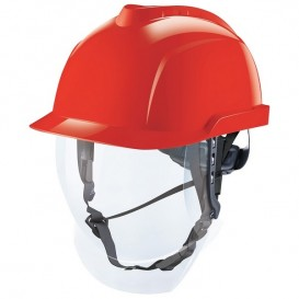 Capacete MSA V-Gard 950 - sem ventilação e com visor facial - Vermelho