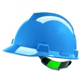 Capacete MSA V-Gard - Sem ventilação com fecho Push Key - Azul