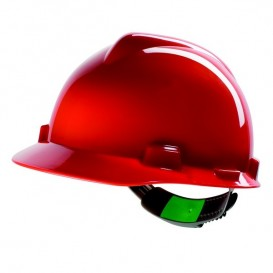 Capacete MSA V-Gard - Sem ventilação com fecho Push Key - Vermelho