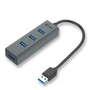 i-tec Metal U3HUBMETAL403 hub de interface USB 3.0 (3.1 Gen 1) Type-A 5000 Mbit/s Cinzento