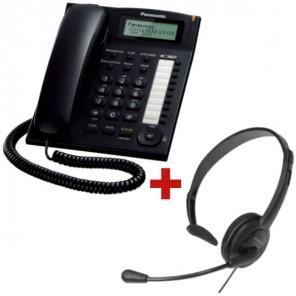 Panasonic KX-TS880 Preto + auricular Panasonic RP-TCA 400 (Jack 2.5 mm)