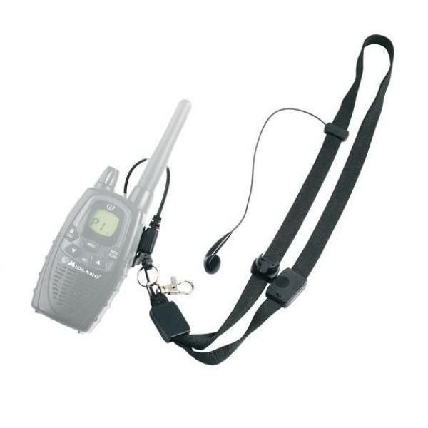 Fita de pescoço com auricular e PTT