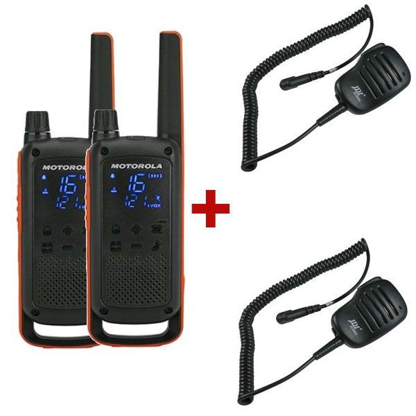 Motorola TLKR T82 + 2 Microfones de lapela PTT