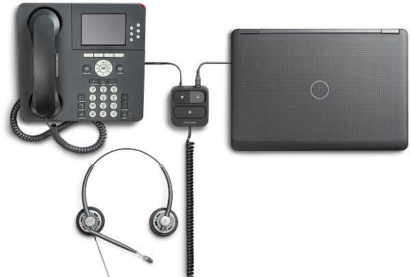 Comutador Plantronics para telefone e PC